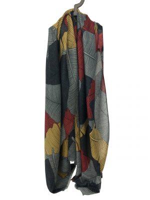 030. Sjaal blad blauw/geel/rood