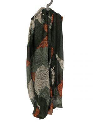 030. Sjaal blad groen/oranje