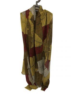 030. Sjaal blad geel/rood