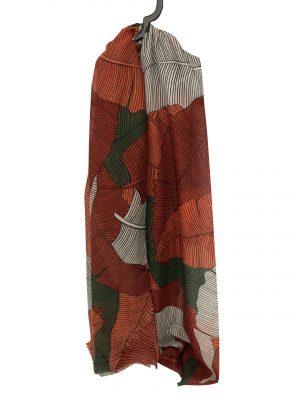 030. Sjaal blad oranje/rood