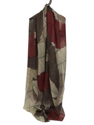 030. Sjaal blad rood/aubergine