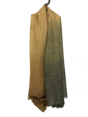 030. Scarf stripe green/yellow