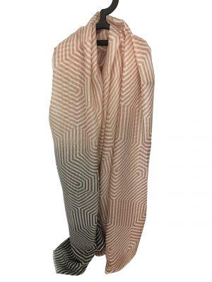 030. Scarf stripe pink/grey
