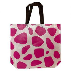 Non woven tas – Gelamineerd giraffe roze(10st.)