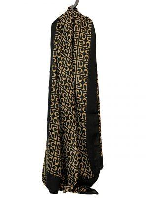 030. Sjaal 5 zwart/ camel