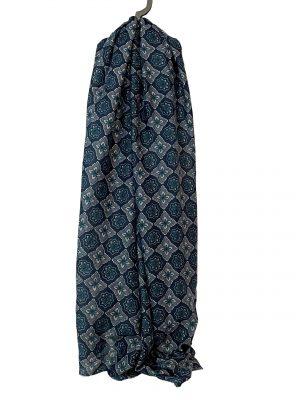 030. Sjaal bloem/ ruit blauw