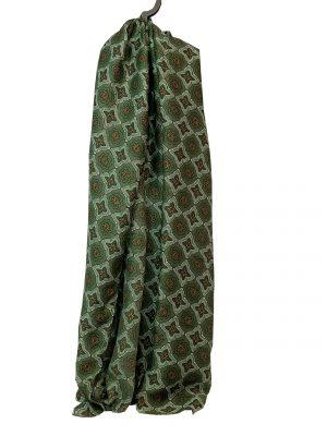 030. Sjaal bloem/ ruit groen