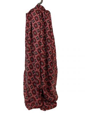 030. Sjaal bloem/ ruit rood