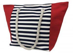 Strandtas – strandtas streep blauw wit rood vierkant
